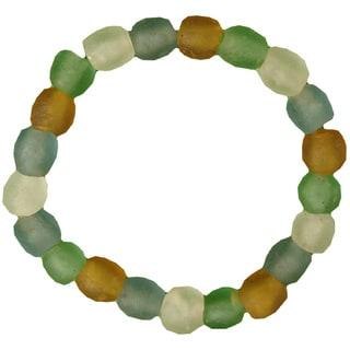 Rainbow Pearl Recycled Glass Bracelet (Ghana)