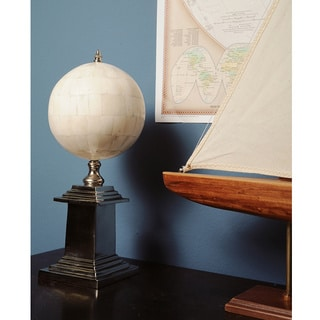 Bone Globe and Aluminum Base Decorative Accessory