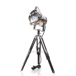 Aluminum/ Wood Spotlight Tripod Lamp