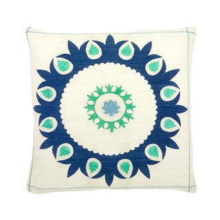 Hand-woven 20 x 20-inch Blue Antigua Throw Pillow