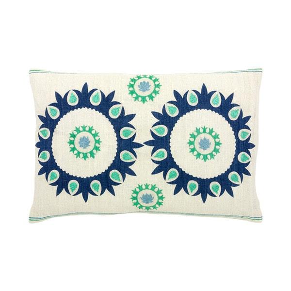 Hand-woven 12 x 18-inch Blue Corfu Throw Pillow