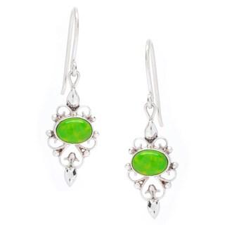 Silver Green Lapis Delicate Wire-work Gemstone Dangle Earrings (Nepal)