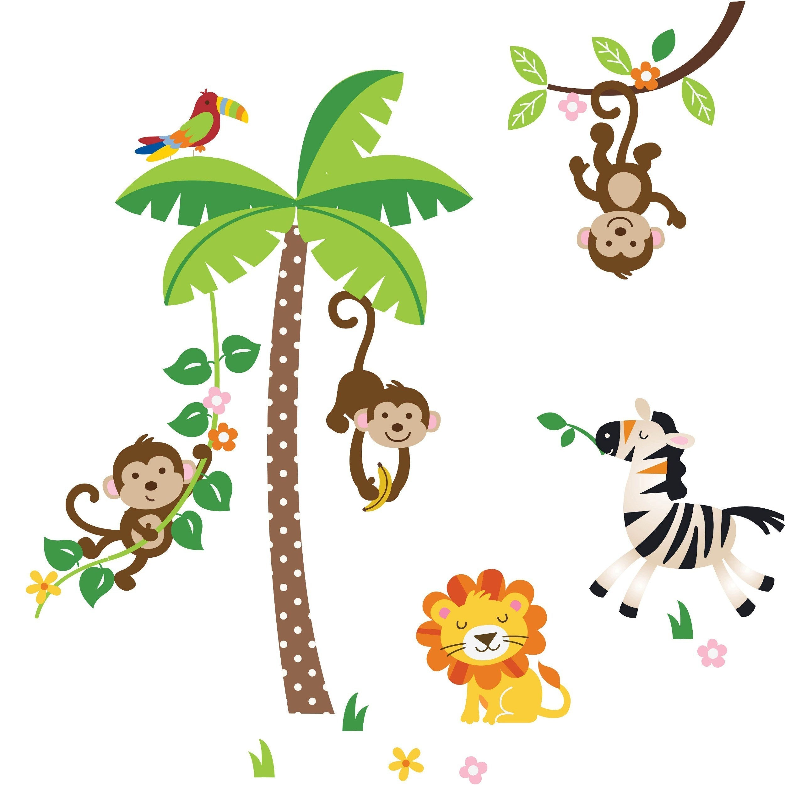 peel amp stick giant jungle monkeys wall decal overstock tree with jungle animals wall sticker by mirrorin