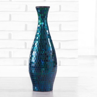 Turquoise Mosaic Flower Vase, Handmade in Indonesia