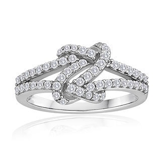 Sterling Silver 1/2ct TDW Diamond Love Knot Ring (H-I, I2-I3)