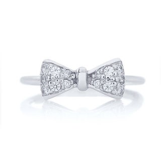 Blue Box Jewels Rhodium Plated Sterling Silver Cubic Zirconia Mini Bow Ring