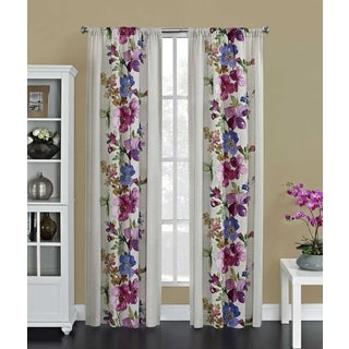 Lucy Faux Linen Rod Pocket Curtain Panel Pair