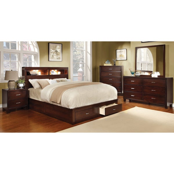 furniture of america clement 4 piece storage bedroom set with lighting