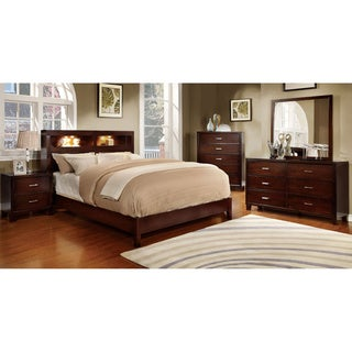 Furniture of America Clement 4-Piece Platform Bedroom Set with Lighting