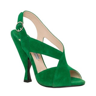 Prada Green Suede Crisscross Sandals