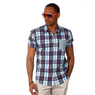 Oxymoron Men's Plaid Short Sleeve Slim Fit Shirt