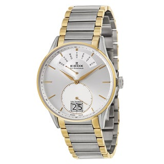 Edox Men's 'Les Vauberts Day Retrograde' Two-tone Stainless Steel Retrograde Watch