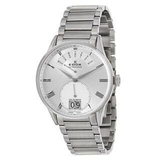 Edox Men's 'Les Vauberts Day Retrograde' Stainless Steel Silvertone Retrograde Watch