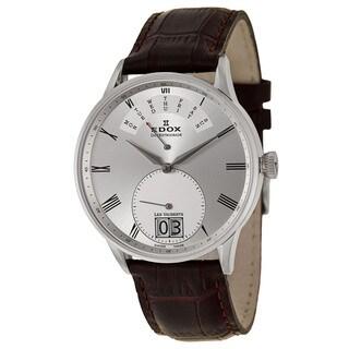Edox Men's 'Les Vauberts Day Retrograde' Stainless Steel Retrograde Watch