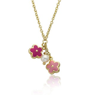 14k Goldplated Children's Pink Enamel Flower and Fresh Water Pearl Cluster Necklace