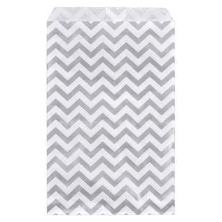 200-piece Shimmering Silver Chevron Paper Gift Bags (6x9)