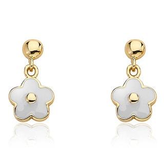 14k Goldplated Children's Small Hanging White Enamel Flower Earrings