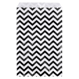 200-piece Black Chevron Paper Gift Bag (6x9)