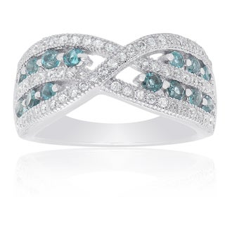 Dolce Giavonna Sterling Silver London Blue Topaz and Cubic Zirconia Infinity Ring