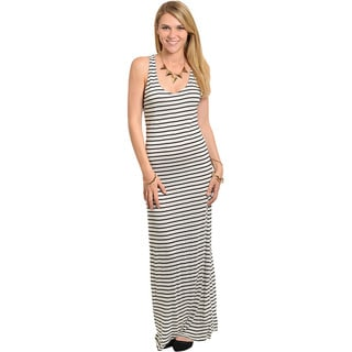Shop The Trends Women's Black and White Striped Criss-cross Back Maxi Dress