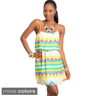 Feellib Women's Multicolored Geo Pattern Short Dress