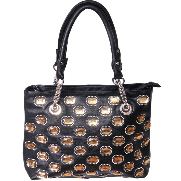 Furmani Black Rhinestone Encrusted Shoulder Bag