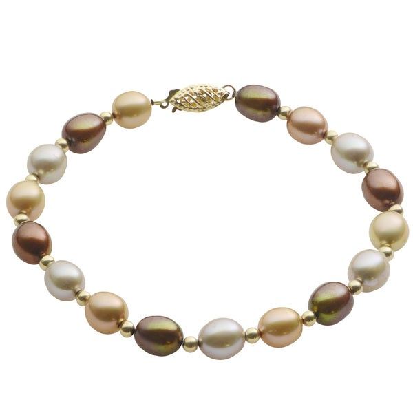Pearls For You 14k Yellow Gold Multi-colored Freshwater Pearl Bracelet (7-7.5 mm)
