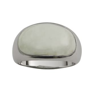 Gems For You Sterling Silver Jade Domed Oval Ring