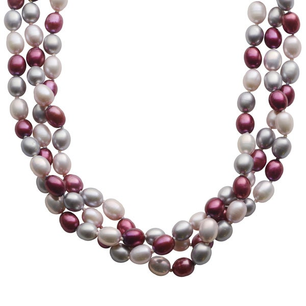 Pearls For You Sterling Silver 18-inch Tri-color Freshwater Pearl Twist Necklace (7-7.5 mm)