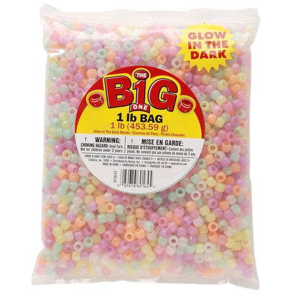 Glow In The Dark Pony Beads 9mm 1lb Bag-Assorted Glow