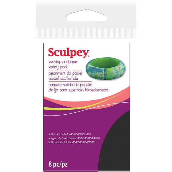 Sculpey Wet/Dry Sandpaper Variety Pack 8pc-2.75inX4.5in