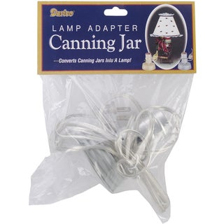 Canning Jar Lamp Adapter 1/Pkg-Zinc, Small Mouth, Silver Cord
