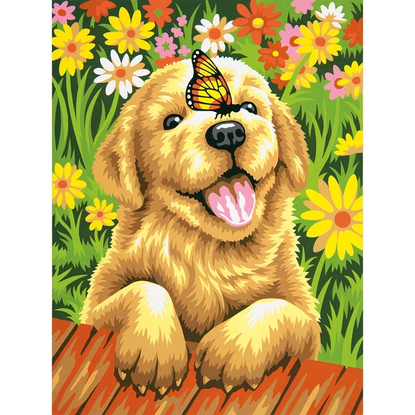 Paint By Number Kit 9inX12in-Puppy Gardener