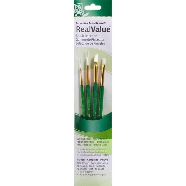 Real Value Brush Set White Taklon-Round 3/0,3, Shader 4, Angle 1/4