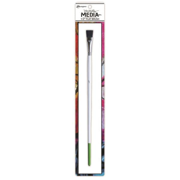 Dina Wakley Media Stiff Bristle Paint Brush-.5in Flat