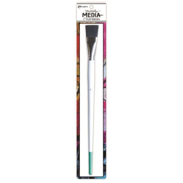Dina Wakley Media Stiff Bristle Paint Brush-1in Flat