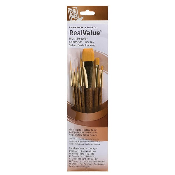 Real Value Brush Set Synthetic White Taklon-Round 1,4, Shader 6, Wash 5/8,1