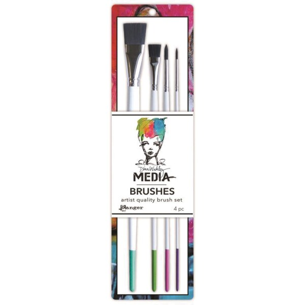 Dina Wakley Media Stiff Bristle Paint Brush 4/Pkg-.5in Flat, 1in Flat, #4 Round & #6 Round