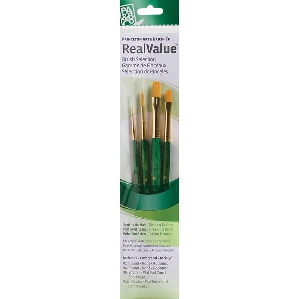 Real Value Brush Set Gold Taklon-Round 1,4, Shader 6,10