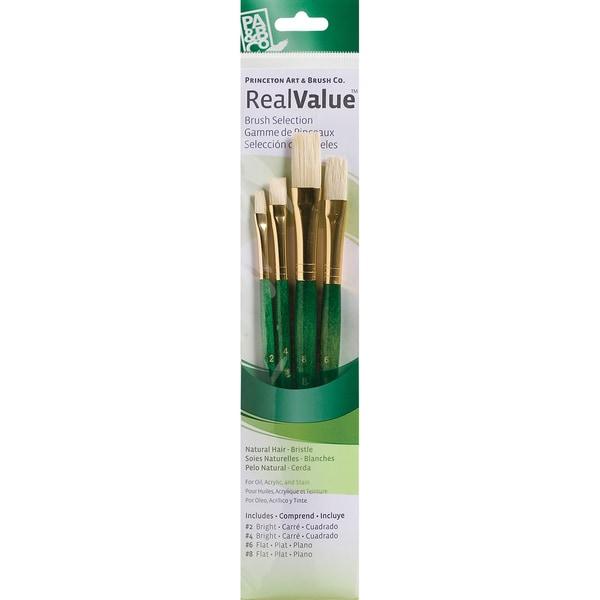 Real Value Brush Set Natural Bristle-Bright 2,4, Flat 6,8