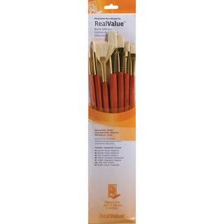 Real Value Brush Set Natural Bristle-Rnd 2,6,Brt 6,Flb 8,Fan 6,Flat 10,Ang 6
