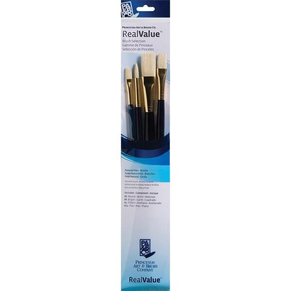 Real Value Brush Set Natural Bristle-Round 6, Filbert 4, Bright 8, Flat 12