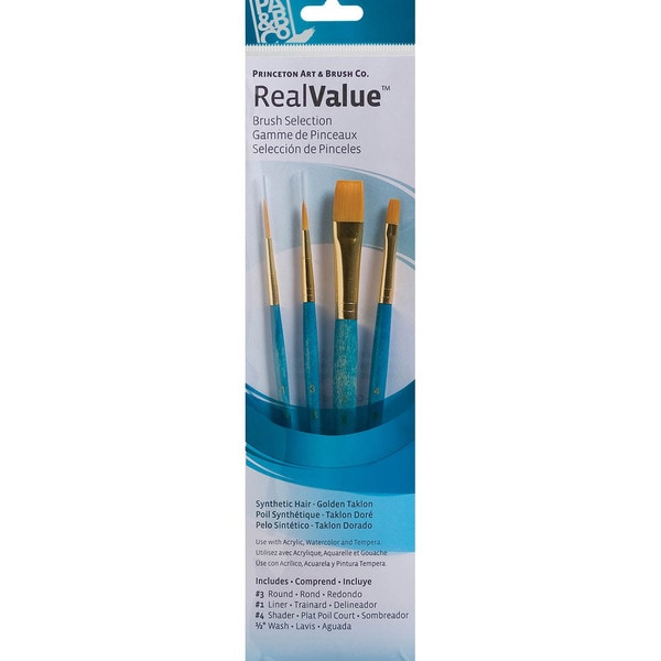 Real Value Brush Set Synthetic Gold Taklon -Round 3, Liner 1, Shader 4, Wash 1/2