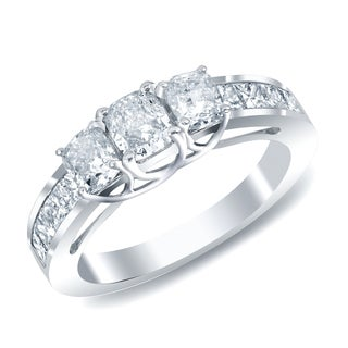Auriya 14k White Gold 2ct TDW Cushion Cut Diamond Ring (G-H, SI1-SI2)