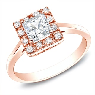 Auriya 14k Rose Gold 1/2ct TDW Princess Diamond Halo Engagement Ring (H-I, SI1-SI2)
