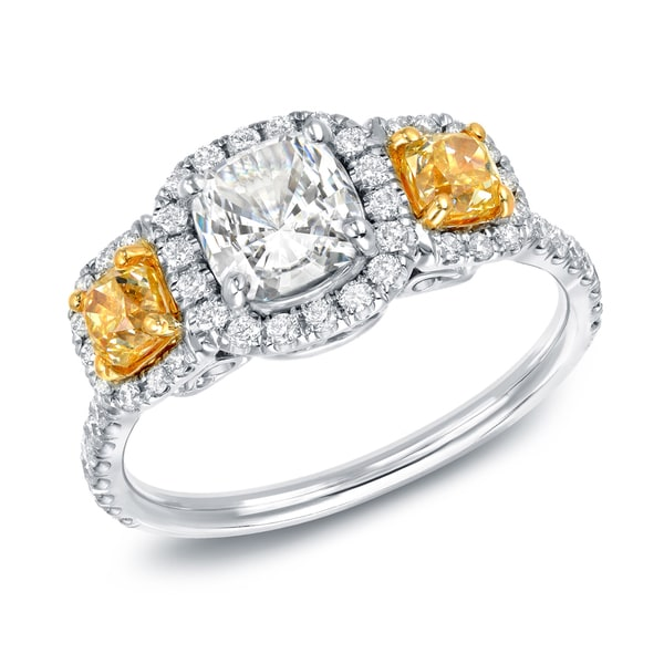 Auriya 14k White Gold Certified 2ct TDW Yellow Diamond Cushion Cut Diamond Ring (G-H, VS2)
