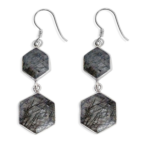 Sterling Silver Black Quartz Dangling Drop Earring