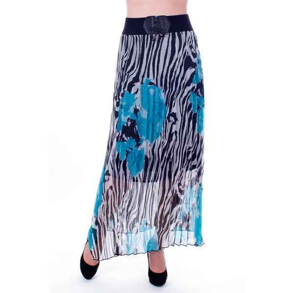 Women's Blue and Black Zebra Print Pleated Long Skirt
