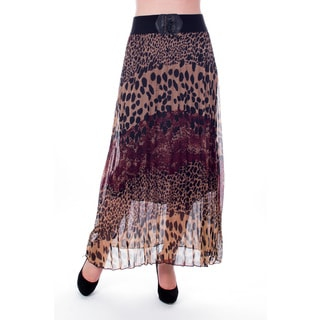 Women's Brown Animal Printed Pleated Long Skirt