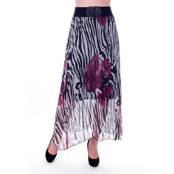 Women's Purple Zebra Print Pleated Long Skirt